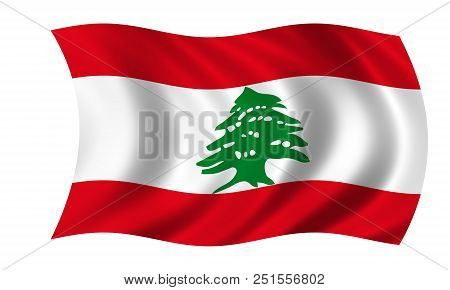 Waving Lebanese Flag Flag In The Colors Red, Green And White