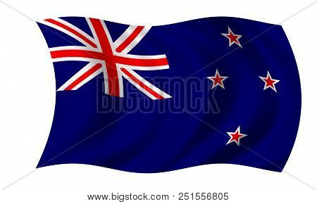 Waving New Zealand Flag In The Colors Blue, Red And White