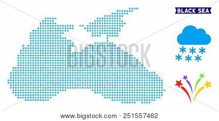 Freeze Black Sea Map. Vector Geographic Scheme In Blue Frosty Colors. Vector Mosaic Of Black Sea Map