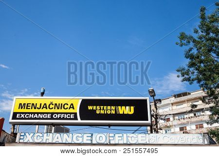 Belgrade, Serbia - July 11, 2018: Western Union Logo On Their Main Exchange Office For Belgrade. The