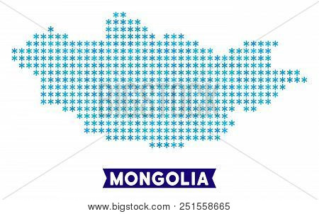 Winter Mongolia Map. Vector Geographic Plan In Blue Frosty Colors. Vector Pattern Of Mongolia Map Co