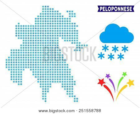 Icy Peloponnese Peninsula Map. Vector Geographic Scheme In Blue Frosty Colors. Vector Collage Of Pel