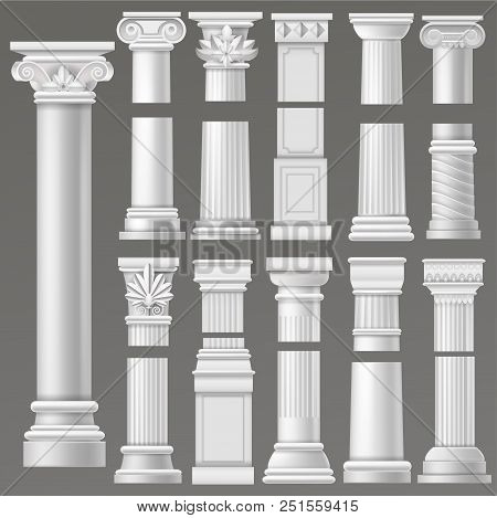 Ancient Column Vector Historical Antique Column Or Classic Pillar Of Historic Roman Architecture Ill