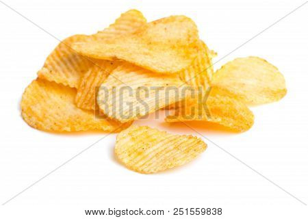 Heap Of Prepated Potato Chips Isolated On White Background