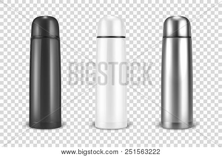 Vector Realistic 3d Black, White And Silver Empty Glossy Metal Vacuum Thermo Tumbler Flask Icon Set