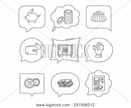 Piggy Bank, Cash Money And Wallet Icons. Safe Box, Send Money And Dollar Usd Linear Signs. Give Mone