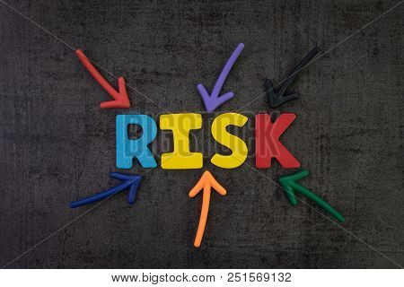 Business Risk Management, Result In Uncertainty, Unpredictable Situation Concept, Colorful Arrows Po