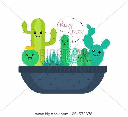 Vector Illustration Of Cute Cartoon Cactus And Succulents Characters.