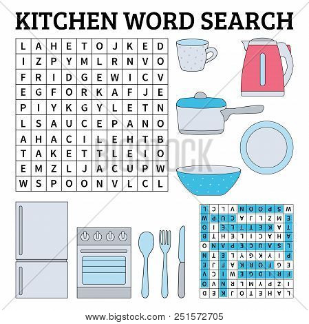 Learn English With A Kitchen Word Search Game For Kids. Vector Illustration.