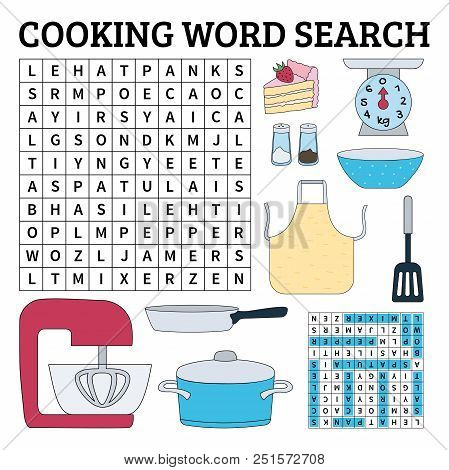 Learn English With A Cooking Word Search Game For Kids. Vector Illustration.