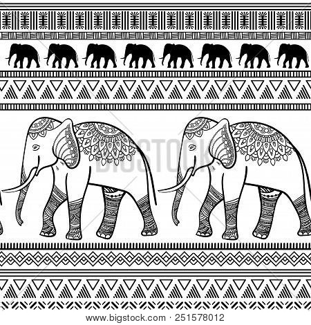 Seamless Pattern With Elephants And Ethnic Stripe Geometric Ornaments. Abstract Monochrome Backgroun