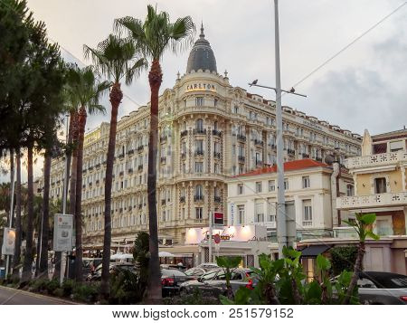 Cannes, France - June 27, 2018: View Of The Famous Corner Dome Of The Carlton International Hotel Lo