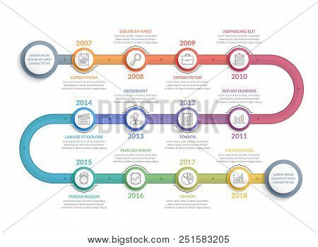Colorful Timeline Infographics Template With 12 Steps, Workflow, Process, History Diagram, Vector Ep