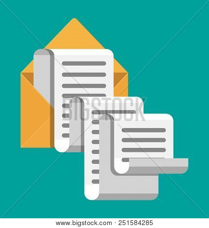 Paper Envelope Letter Correspondence. Mail Sms Message Icon. Unread Email Message. Vector Illustrati