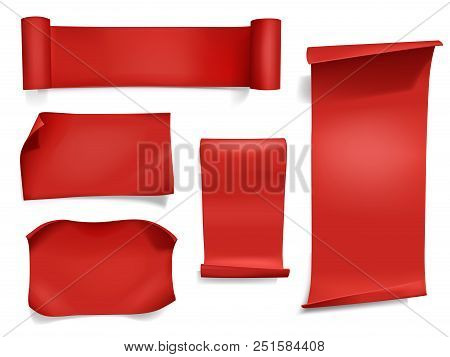 Red Ribbons And Banners Vector Illustration. 3d Realistic Curved Paper, Satin Textile Or Silk Scroll