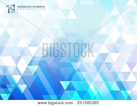 Abstract Technology Futuristic Arrow And Triangles Pattern Elements On Blue Background. You Can Use