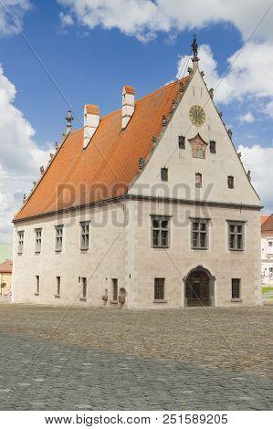 Slovakia, Prešovský Kraj, Slovakia, Bardejov, Market Square, Town Hall, Sunlit, Overcast Sky