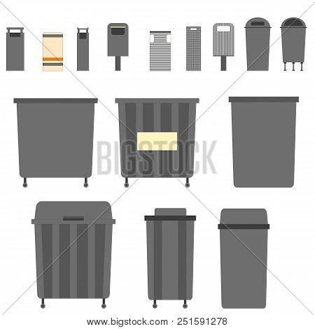 Waste Can Of Garbage Types. Container Bin Management And Recycle Concept With Organic, Paper, Plasti