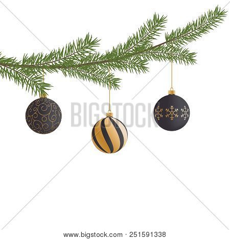 Realistic Vector Christmas Tree Branch And Balls. Pine Tree Branch With Christmas Balls. Black And G