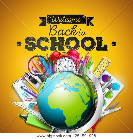 Back To School Design With Colorful Pencil, Eraser And Other School Items On Yellow Background. Vect