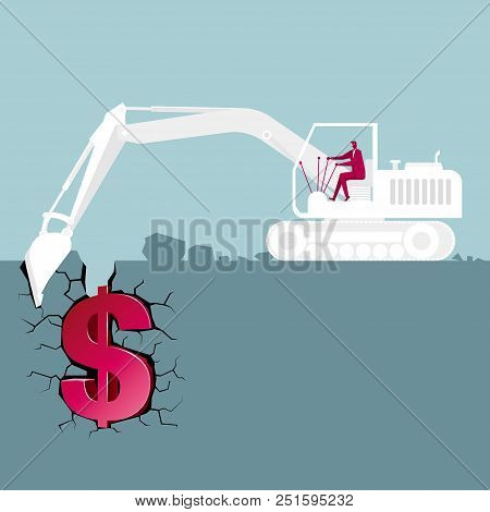 Construction Machinery,excavator Mines Gold Mines.the Background Is Blue.