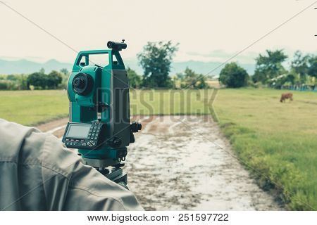 Altometer For Land Surveyor. Theodolite Equipment For Geodetic Survey
