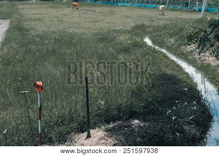 Land Surveyor Using Pole For Measuring Ground Control Point. Metal Survey Peg.