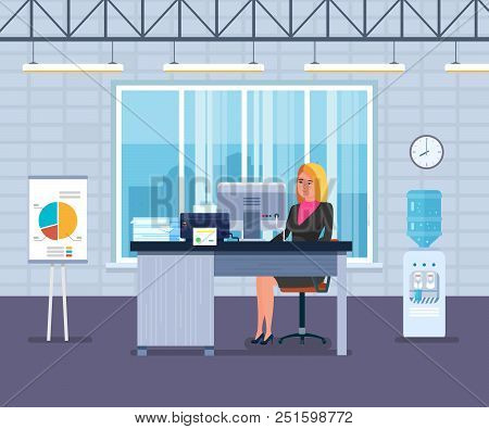 Young Girl, Office Worker, Businesswoman, Working At Computer In Office Room, On Background Interior