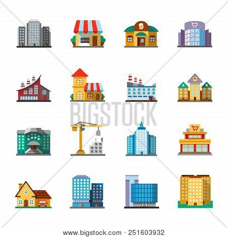 City Buildings Flat Design Long Shadow Color Icons Set. Facades. Town Architecture. Vector Silhouett