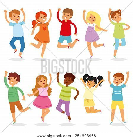 Jumping Kids Vector Yong Child Character In Jump Activity In Childhood Illustration Set Of Playful C