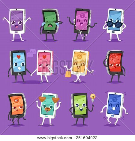Phone Emoji Vector Gadget Character Smartphone Or Tablet With Face Expression Illustration Emotional
