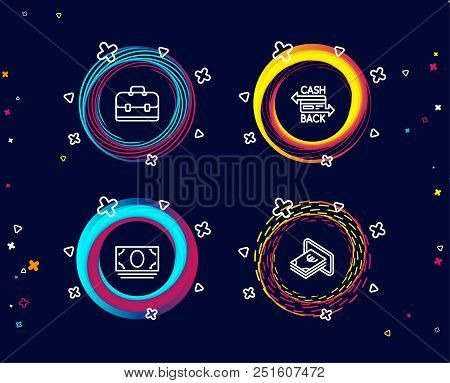 Set Of Cash Money, Portfolio And Cashback Card Icons. Cash Sign. Banking Currency, Business Case, Mo