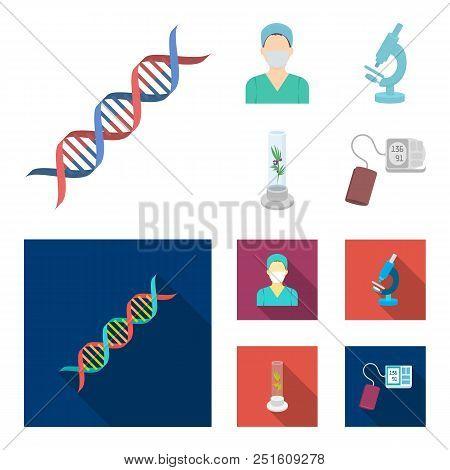 Plant In Vitro, Nurse, Microscope, Tonometer. Medicine Set Collection Icons In Cartoon, Flat Style V