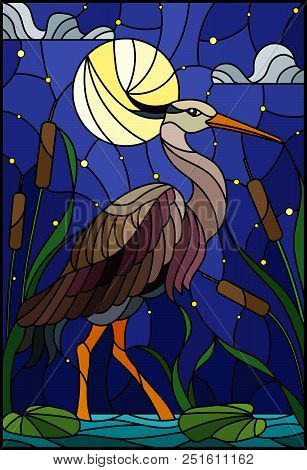 Illustration In Stained Glass Style With Brown  Heron ,  Reeds On A Pond In The Moon, Starry Sky And