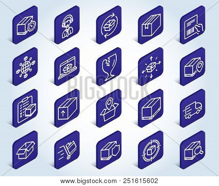 Logistics And Shipping Line Icons. Set Of Truck Delivery, Box And Checklist Signs. Push Cart, Parcel