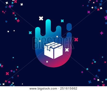 Shipping Box Simple Icon. Logistics Delivery Sign. Parcels Tracking Symbol. Cool Banner With Icon. A