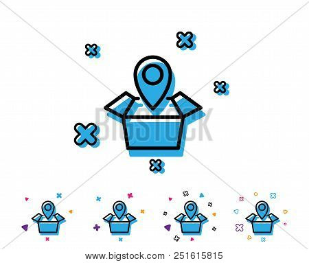 Package Tracking Line Icon. Delivery Monitoring Sign. Shipping Box Location Symbol. Line Icon With G