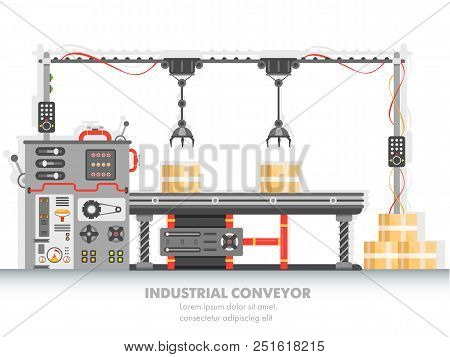 Industrial Manufacturing Line With Automated Process. Horizontal Belt For Packaging And Distribution