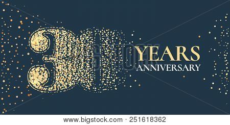 30 Years Anniversary Celebration Vector Icon, Logo. Template Horizontal Design Element With Golden G