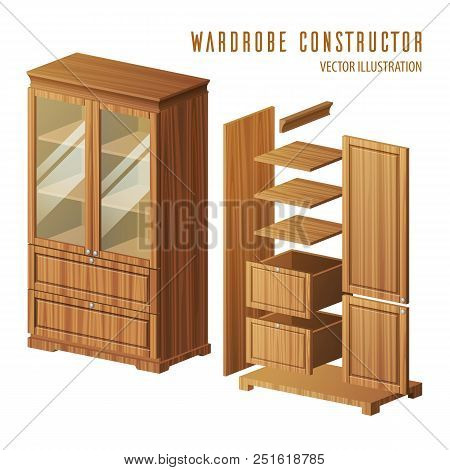 Wardrobe Construction Instruction Or Built-in Closet Building Steps With Doors And Shelves, Racks. P
