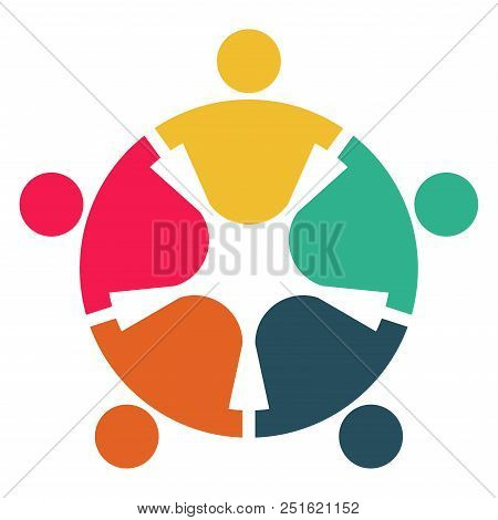 Meeting Room People Logo.group Of Four Persons In Circle