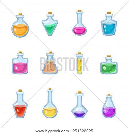 Magic Bottle Vector Magical Game Potion In Glass Or Liquid Poison Drink Of Alchemy Or Chemistry Illu