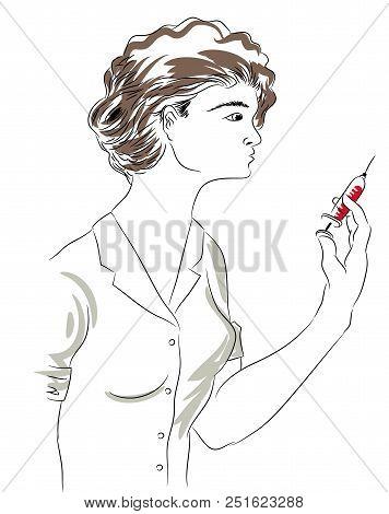 Nurse And Needle.  Beautiful Nurse Holding A Needle.