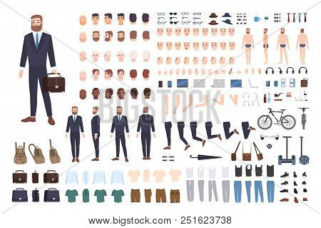 Businessman Constructor Or Diy Kit. Set Of Male Office Worker Or Clerk Body Parts, Postures, Clothin