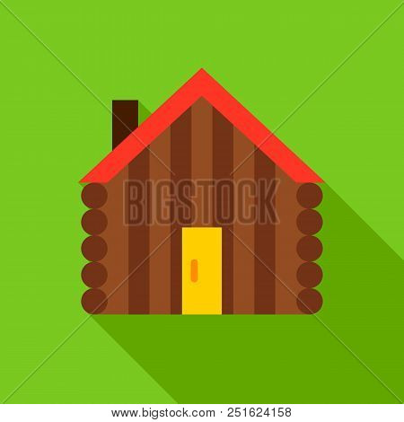 Hut Object Icon. Flat Design Vector Illustration With Long Shadow.