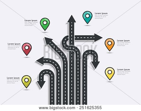 Arrow Road Map Of  Business And Journey Infographic Design Template With Pin Pointer. Road Trip, Jou
