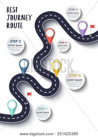 The Best Journey Route. Road Trip And Journey Route. Business And Journey Infographic Design Templat