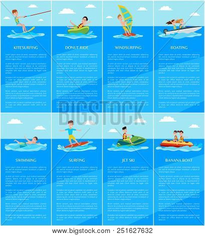 Swimming And Boating, Jet Ski And Banana Boat, Kitesurfing And Windsurfing, Water Sport Posters Set,