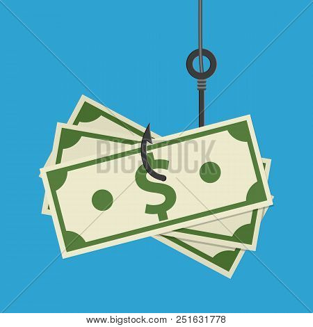 Fishhook Business Concept - Money Symbol As Trap. Vector Illustration In Flat Style