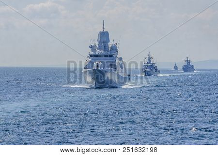 Group Of Ships During Training In The Black Sea.bulgaria/07.19.2018/military Ships On Water. Editori